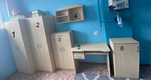 Zestaw mebli dziecięcych do pokoju 9 elementów szafa biurko regał