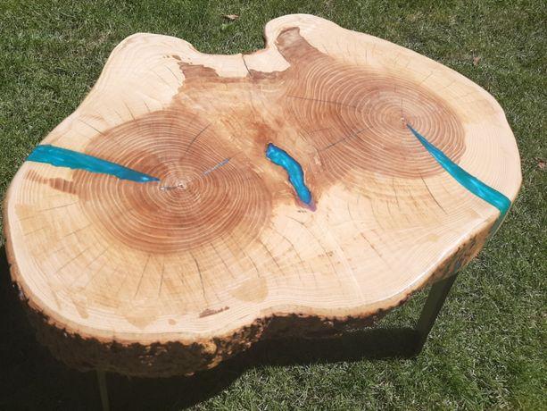 Stolik kawowy stół z plastra drewniany jesion loft lite 60 cm handmade