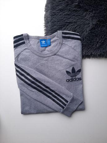 Szary longsleeve Adidas three stripes