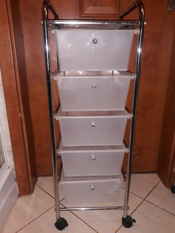 Wózek kosmetyczny na kolkach 5 szuflad Bardzo pojemny