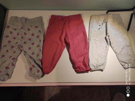 Spodnie dresowe dla dziewczynki 80 3 sztuki