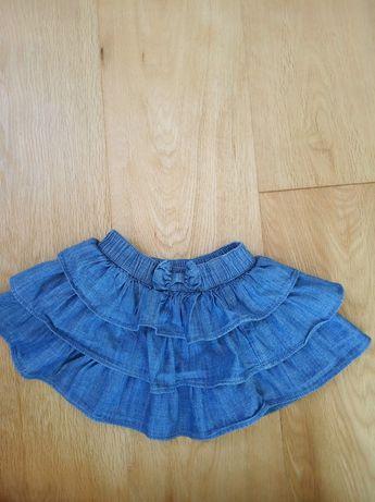 Jeansowa spódniczka z falbanami mother care rozmiar 68