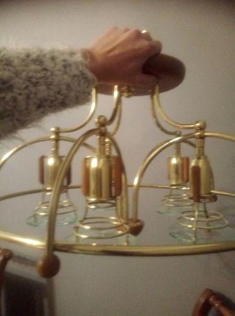 Złoty Żyrandol na 5 żarówek plus 2x kinkiet