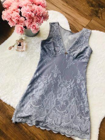 BY O LA LA Szara sukienka wiosenna koronkowa z dekoltem Rozmiar S