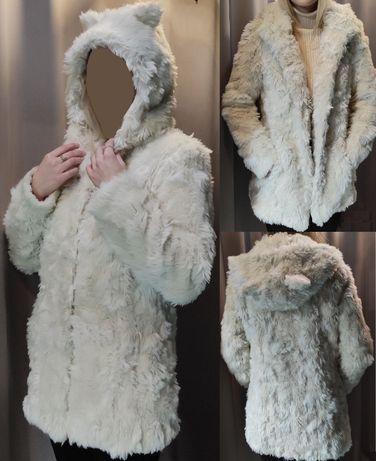 Подросток Asos шуба ушки капюшон мех искусственный хутро штучне пальто