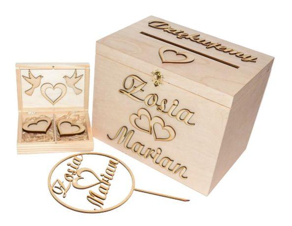 *Pudełko Na Koperty I Obrączki + topper KOMPLET*
