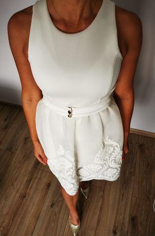 Suknia ślubna - jasny ecre/biała  r. 38