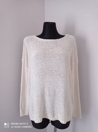 Biały kremowy sweterek damski na długi rękaw esmara duży rozmiar