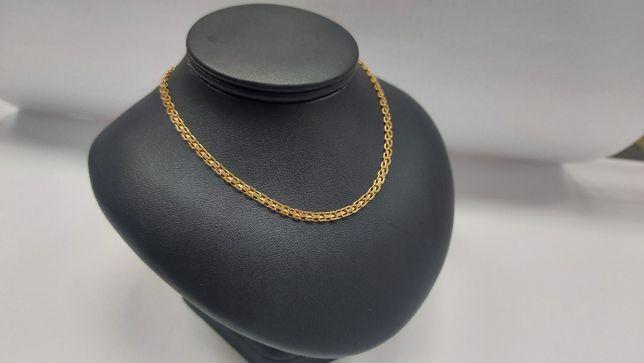 Piękny łańcuszek, splot bismark złoto 585
