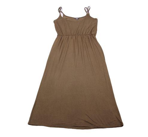 Midi sukienka na szelkach khaki na lato 46 48