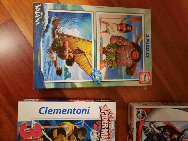 4 puzzles Disney e Marvel, idades 4+ a 7+