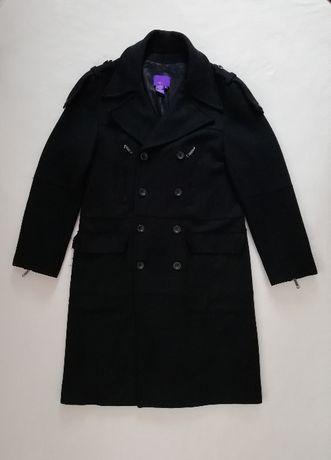 Zara L XL płaszcz męski zimowy długi czarny wełniany dwurzędowy