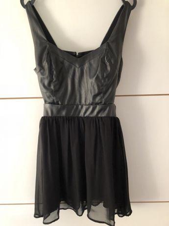 Czarna sukienka skóra dół zwiewny XS