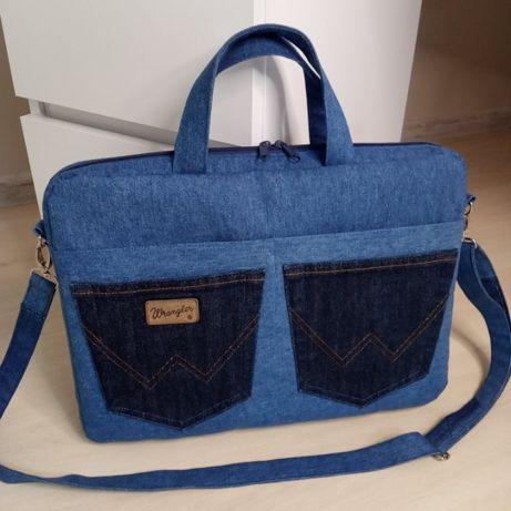 Torba na laptopa torebka jeansowa dżinsowa handmade upcykling