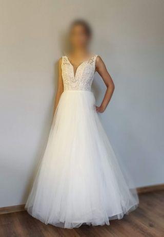 Suknia ślubna koloru śmietankowego ESTERA, sezon 2020