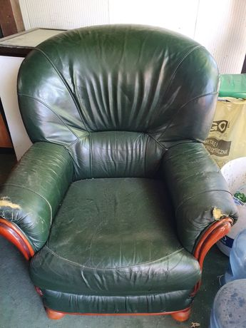 Fotel skórzany, zielony.