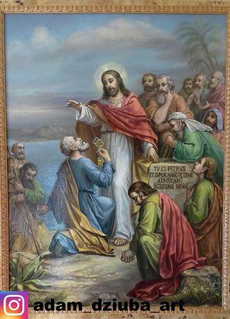 Obraz religijny Jezus i św. Piotr olej na płótnie