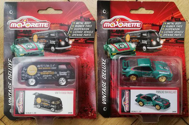2x modele zabytkowe deluxe firmy majorette VW T1 i Porsche 934 911