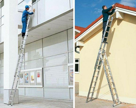 Алюминиевая лестница трехсекционная (стремянка) на 6 ступеней