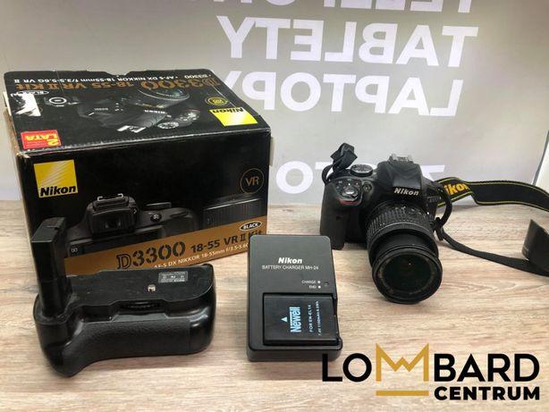 Lustrzanka Nikon D3300 Z obiektywem 18-55mm Komplet widoczny na zdjęc