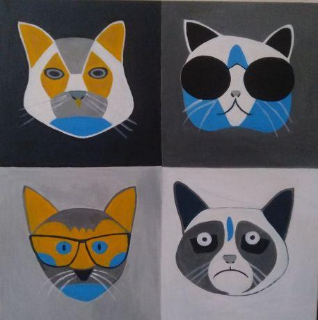 Картина коты, поп арт, ручная работа. Кіт
