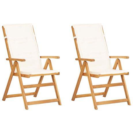 vidaXL Cadeiras jardim reclináveis 2pcs madeira acácia maciça castanho 45937