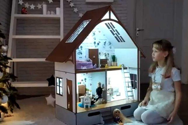 игровой дом роста барби кукольный домик румбокс освещен обстав\лен