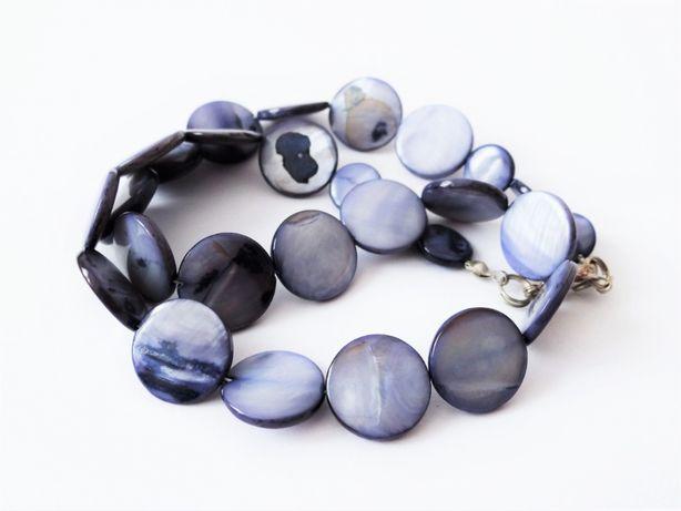 Naszyjnik z niebieskiej masy perłowej - stan bdb