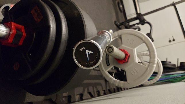 Gryf olimpijski APUS + 100 kg obciążenia - bumpery APUS + zaciski NOWE