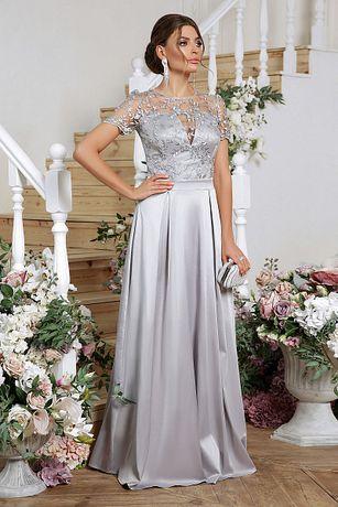 Плаття вечірнє р. 48, атлас+кружево, колір срібло