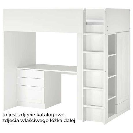 Łóżko piętrowe antresola z biurkiem i szafą Ikea Stuva