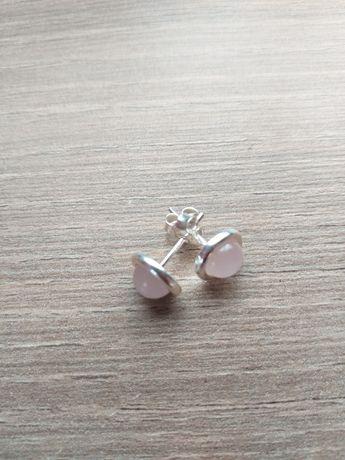 Kolczyki kamień kwarc różowy srebro.Cena z wysyłką.