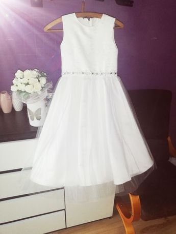 Sukienka komunijna tiulowa krespol z dodatkami komplet roz 140 cudna