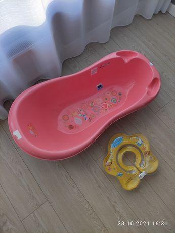 Детская ванночка с термометром Tega Baby + круг для купания Lindo