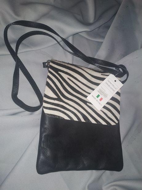Torebka, zebra, skora, czarno biala,