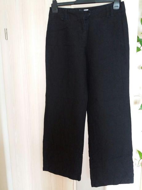 Lniane czarne spodnie r.38