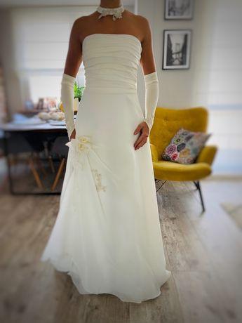 Piękna suknia ślubna 36/38 kolor ecru