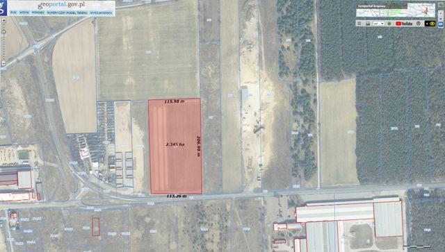 Działka przemysłowa, teren inwestycyjny 2,35ha