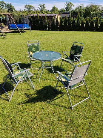 Zestaw tarasowy, ogrodowy 4 składane krzesła i stół