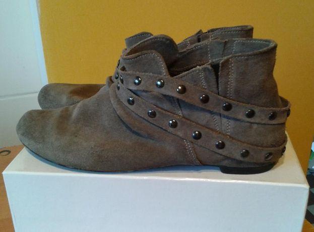 wygodne buty, grafitowo-beżowe, skóra naturalna nubukowa 39/40
