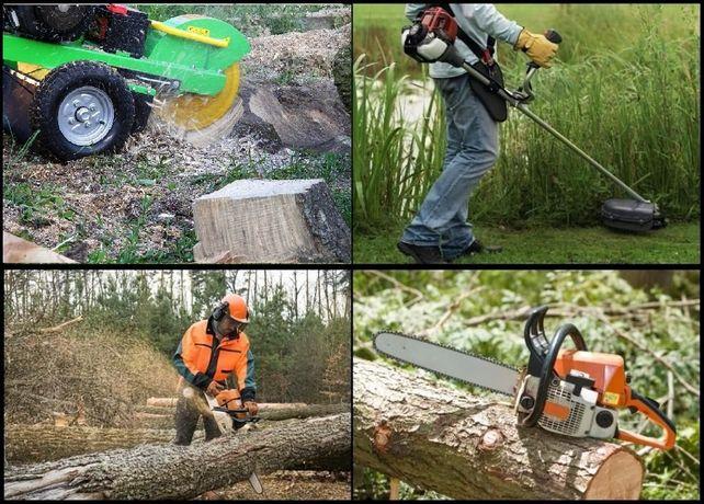 Koszenie trawy, nieużytków, wycinka drzew, frezowanie pni, karczowanie
