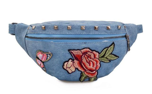 NERKA saszetka biodrówka damska kwiaty motyle N120 jeansowa
