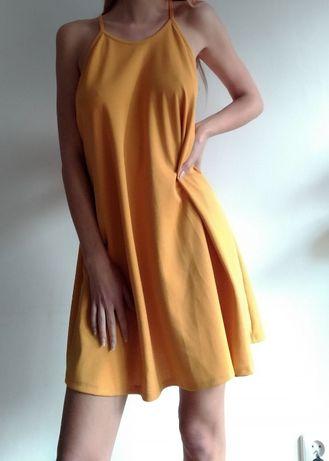 Żółta zwiewna rozszerzana sukienka rozmiar 38/M/10