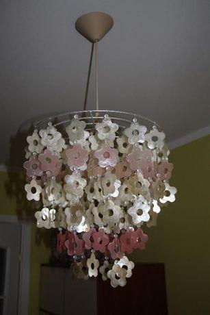 śliczna lampa sufitowa wisząca żyrandol dziecięcy dziewczęcy kwiatki