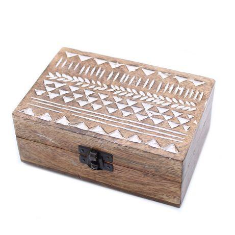 Caixa de madeira Vintage motivo Azteca