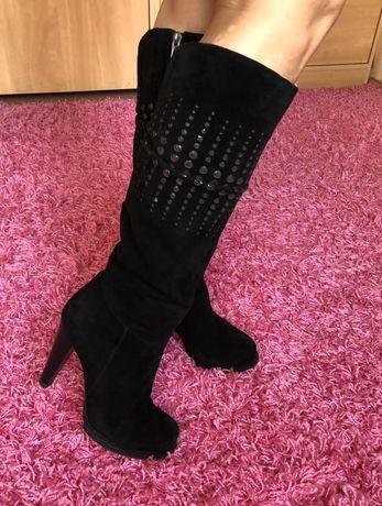 Сапоги черные женские на каблуке замшевые натуральные