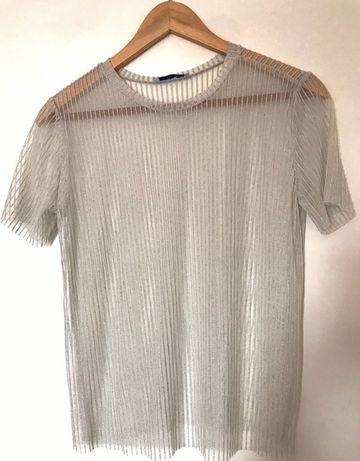 Blusa prateada de tule da Zara L