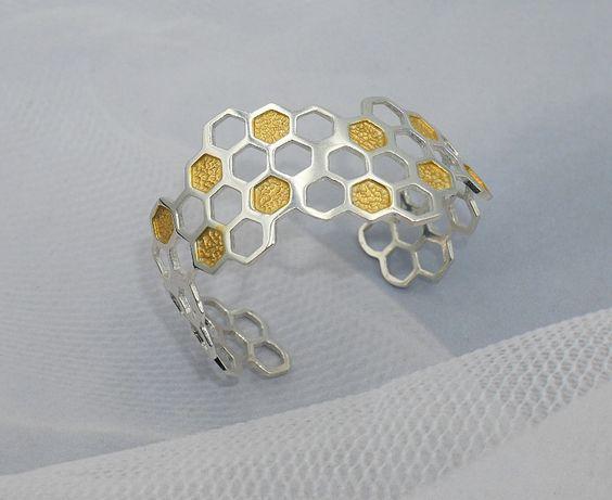 Piekna,srebrna 925 bransoletka plaster miodu