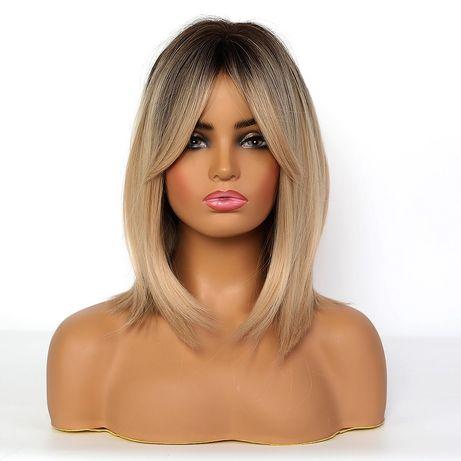 Peruka blond z odrostem jak naturalne bez sztucznego połysku