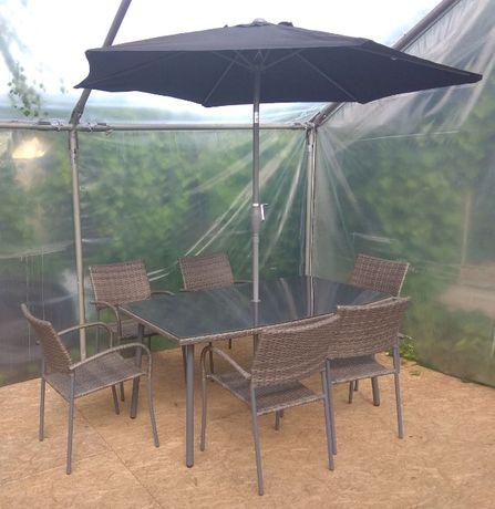 Meble Ogrodowe CUSCO Stół + 6 Krzeseł + Parasolka TECHNORATTAN
